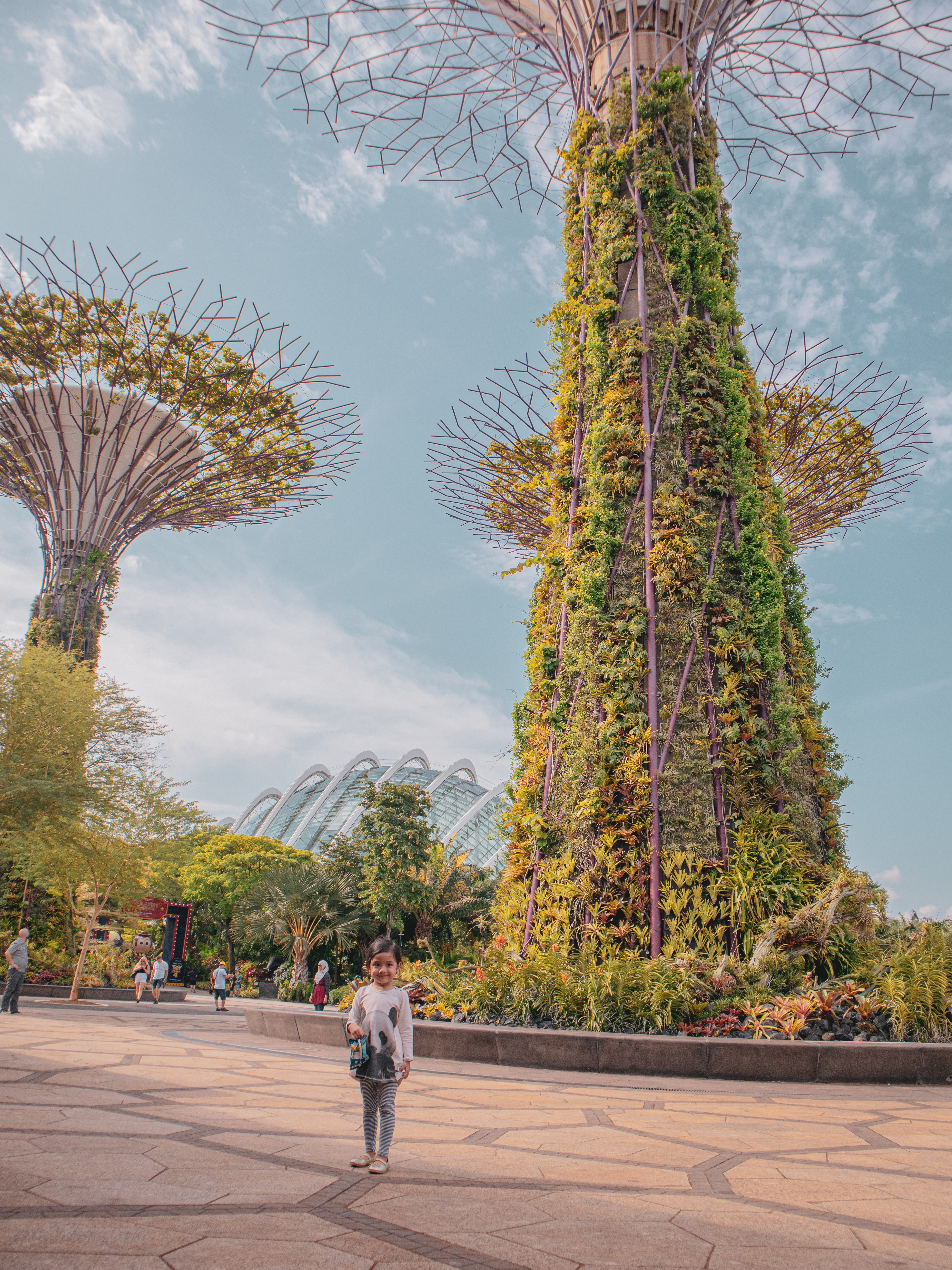 three year old Kerrigan's first time at the Garden's by the Bay in Singapore